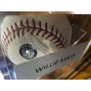 Willie Mays Autographed Baseball With Say Hey COA and Display