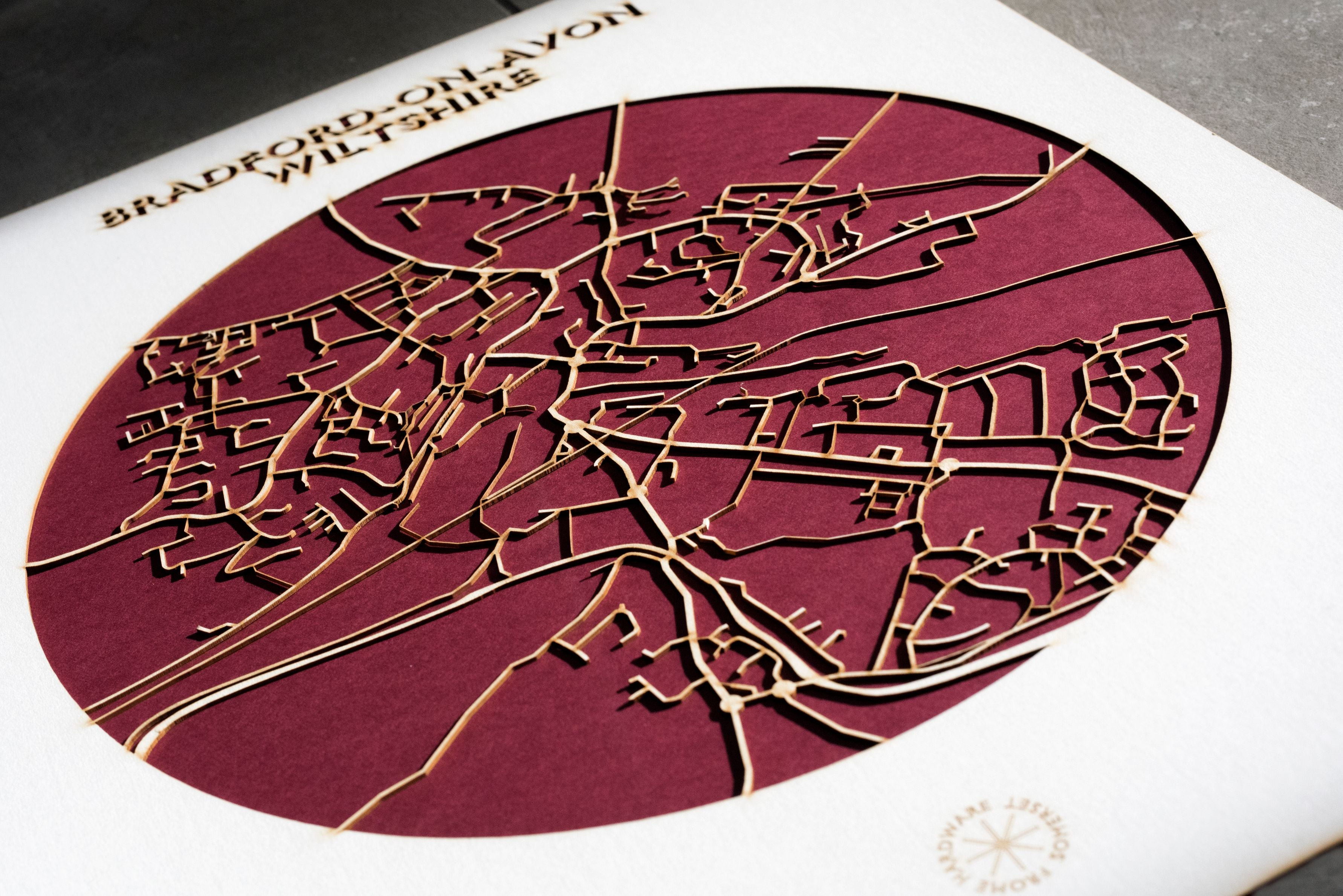 Lasercut Map - Bradford-on-avon