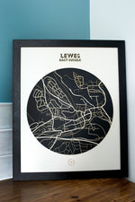 Lasercut Map - Lewes, East Sussex
