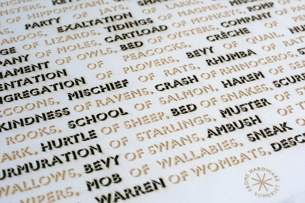 Lasercut Print - Terms of Venery