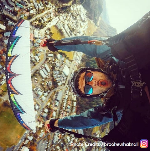 Vilo - Person Skydiving whilst wearing wooden sunglasses