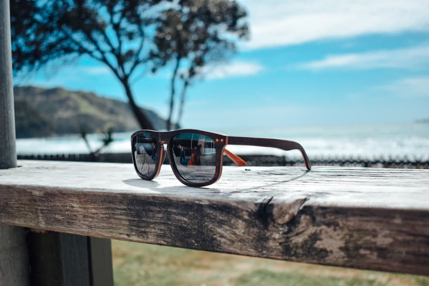 Farrier wooden sunglasses by Vilo Eyewear Australiaon a sunny day at the beach