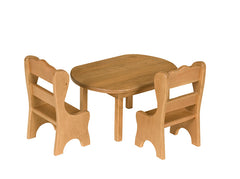 Wooden Oval Dining Activity Table for Kids Playhouse Furniture w/ 2 Chairs