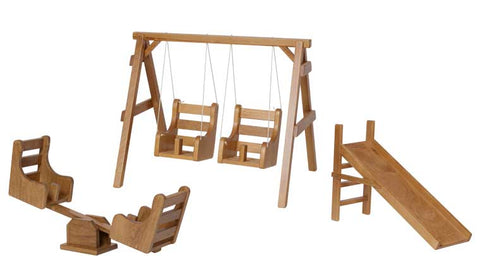 SET: Hard Wood Playground Swing, Slide, Teeter-Totter Indoor Kids Children Play Room Furniture