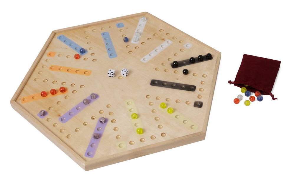 Wooden Aggravation Marble Game Board w/ edge 4 to 6 Player
