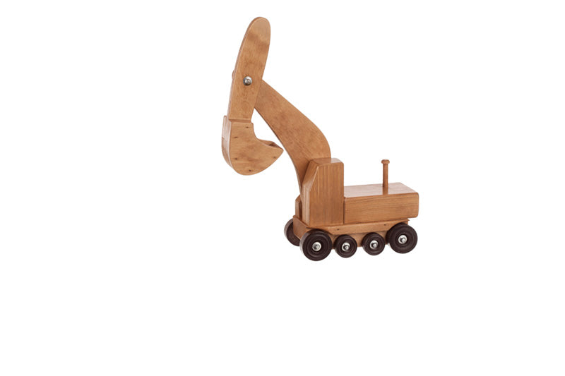 Low Boy Toys : Handmade wooden excavator rides on low boy truck toys