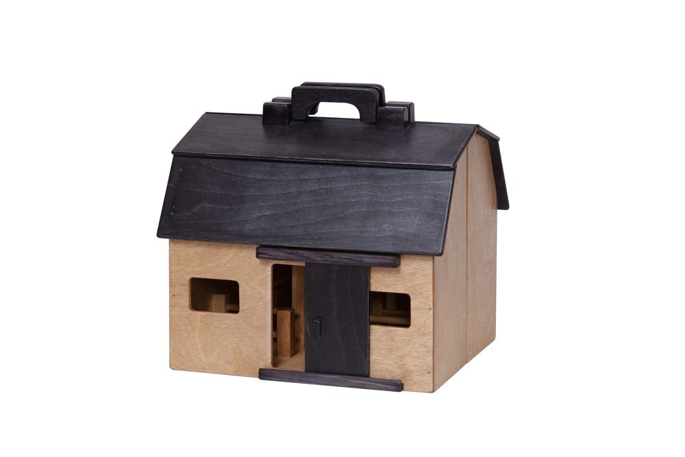Folding Barn (large) harvest w/ Black Roof - Wooden Toy House