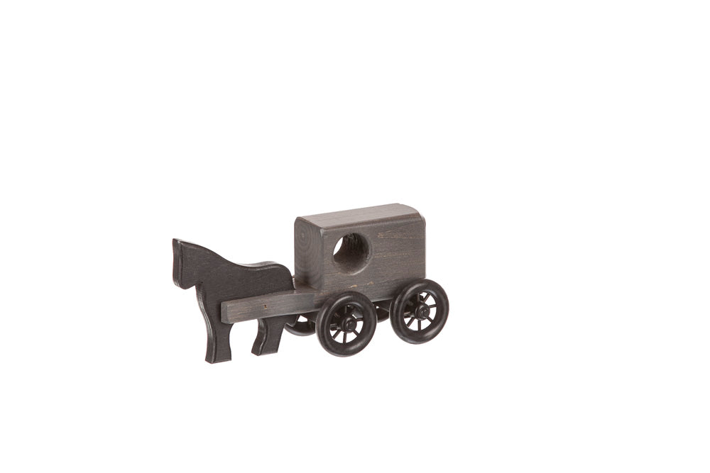 Horse & Buggy Small Wooden Toys for Kids in Black/Gray