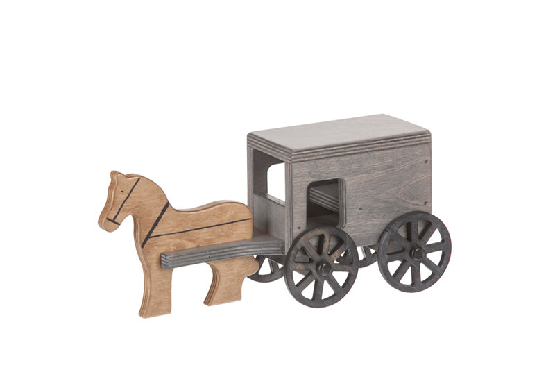 Horse & Buggy Wooden Toys for Kids in Black/Gray