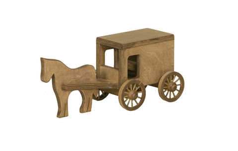 Horse & Buggy Wooden Toys for Kids in Harvest
