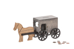 Horse & Buggy Coin Bank Small Wooden Toys for Kids in Black/Gray