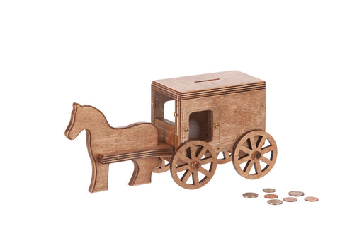 Horse & Buggy Coin Bank Small Wooden Toys for Kids in Harvest