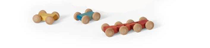 3 Pieces Handmade Wooden Mini Roller Cars Toys for Kids