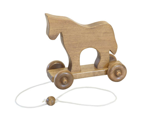 Wooden Pull Toy in Boat Dog Horse and Grasshopper Toys for Kids
