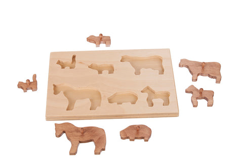 Handmade Wooden Farm Animals Puzzle Board