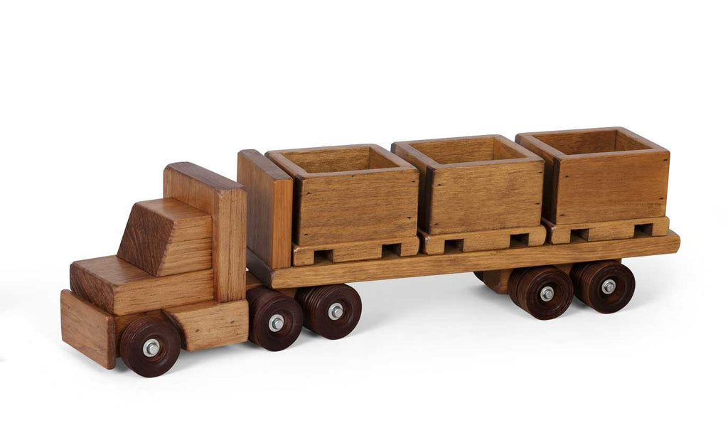 Wooden Truck Flat Bed Cargo Trailer Truck w/ 3 Skid Toys for Kids