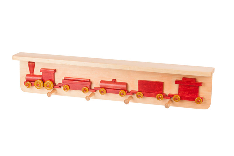 Traditional Wooden Train Shelf in Harvest and Red Toys for Kids