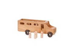Handmade Wooden School Bus w/ Removable Little People Toys for Kids