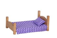 Wooden Doll Bed for Kids Playhouse (Pillows and Blankets not included)