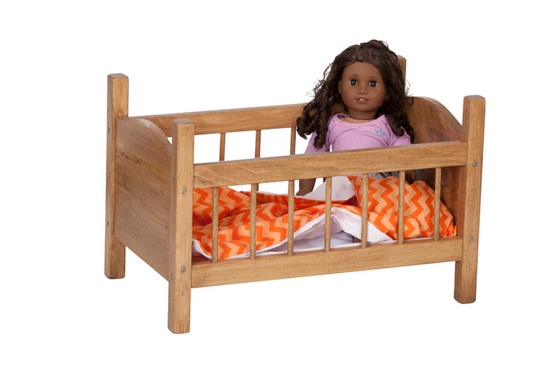 Wooden Doll Crib Toys for Kids Playhouse in 4 Different Color