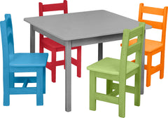 SET - Wooden Dining Activity Table (30x30) + 4 Wooden Chairs Furniture for Kids