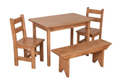 SET - Wooden Dining Activity Table (30x30) + 2 Wooden Chairs + 1 Bench Furniture for Kids