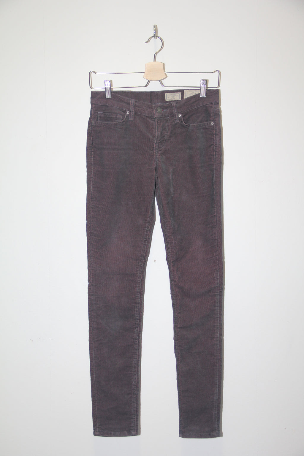 All Saints Low Rise Skinny Fit Flauel Buxur Vínrauðar // W26