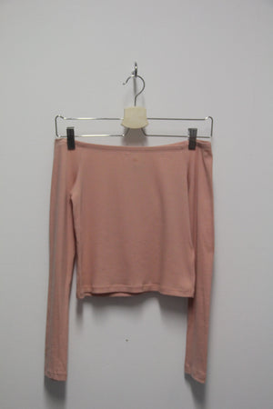 H&M Off Shoulder Crop Top Föl Bleikur - S