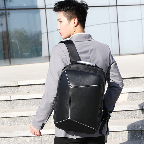 Custom Fashion Black pu Men Backpack