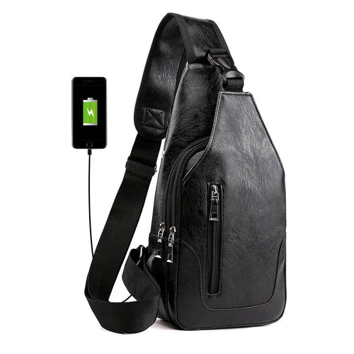 Custom PU sling body bag with USB shoulder Sling Bag For Men