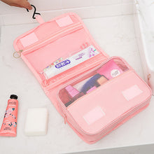 Load image into Gallery viewer, Fashion ladies makeup bag travel foldable hanging toiletry leather cosmetic bag