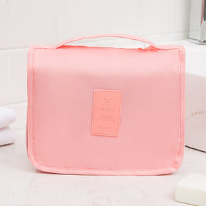 Fashion ladies makeup bag travel foldable hanging toiletry leather cosmetic bag