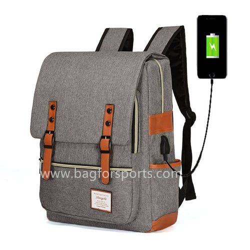 School College Backpack with USB Charging