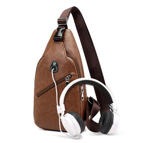 Waterproof Crossbody Small Men's Shoulder Bag with USB