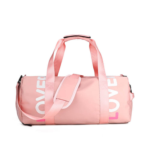 Wholesale fitness bag polyester travel duffel sport bags with shoe compartment for gym
