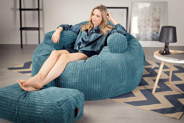 Lounge Sack 1010 XXL - Giant Memory Foam XXL Bean Bag Sofa - Corduroy Aegean Blue