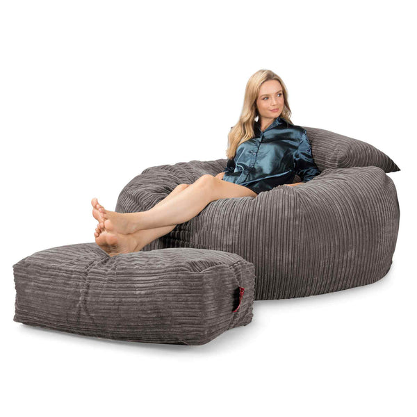 Lounge Sack 1010 XXL - Giant Memory Foam XXL Bean Bag Sofa - Corduroy Graphite Gray