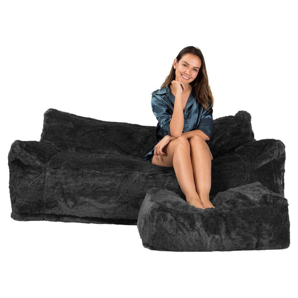 Delux-Sofa-Bean-Bag-Fluffy-Faux-Fur-Badger-Black_1