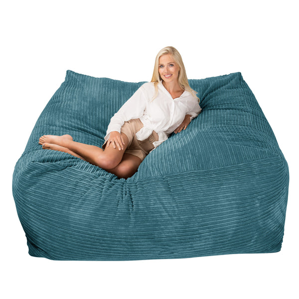 Lounge Sack 2500 - A Colossal XXXL Memory Foam Bean Bag Sofa - Corduroy Aegean Blue