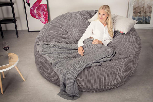 Lounge Sack 3000 XXL - A King Sized Memory Foam Bean Bag Sofa - Corduroy Graphite Gray
