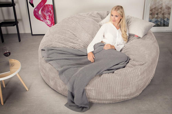 Lounge Sack 3000 XXL - A King Sized Memory Foam Bean Bag Sofa - Corduroy Mink