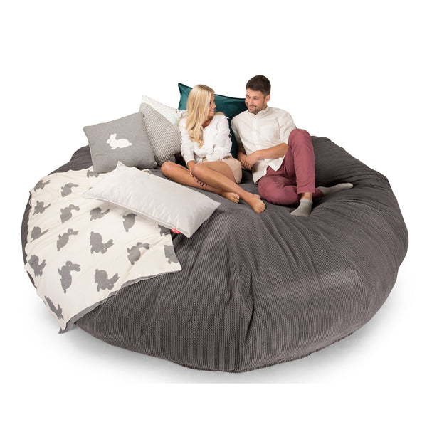 Lounge Sack 5000 XXXXXL - A Titanic Memory Foam Bean Bag Sofa - Pom Pom Charcoal Gray