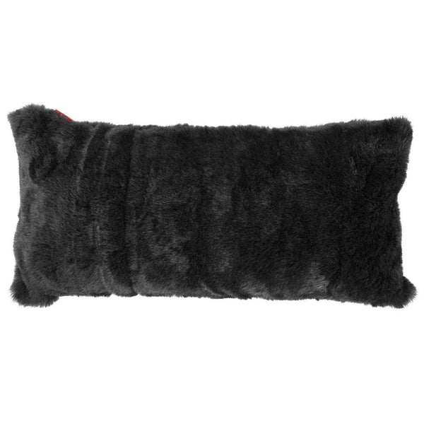 XL-Rectangular-Cushion-with-Memory-Foam-Inner-16-x-31-Fluffy-Faux-Fur-Badger-Black_1