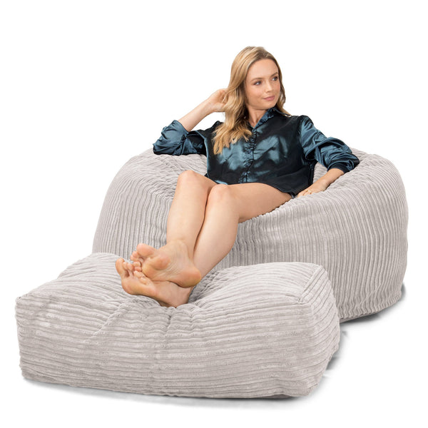Lounge Sack 510 XL - X Large Memory Foam Bean Bag - Corduroy Ivory