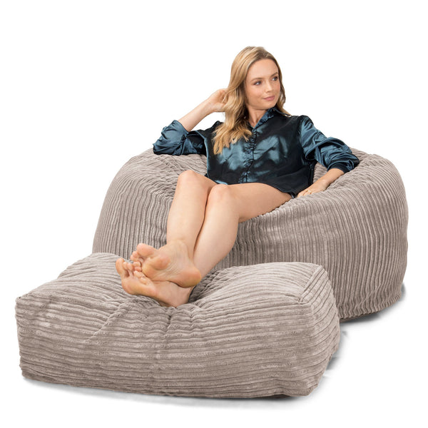 Lounge Sack 510 XL - X Large Memory Foam Bean Bag - Corduroy Mink