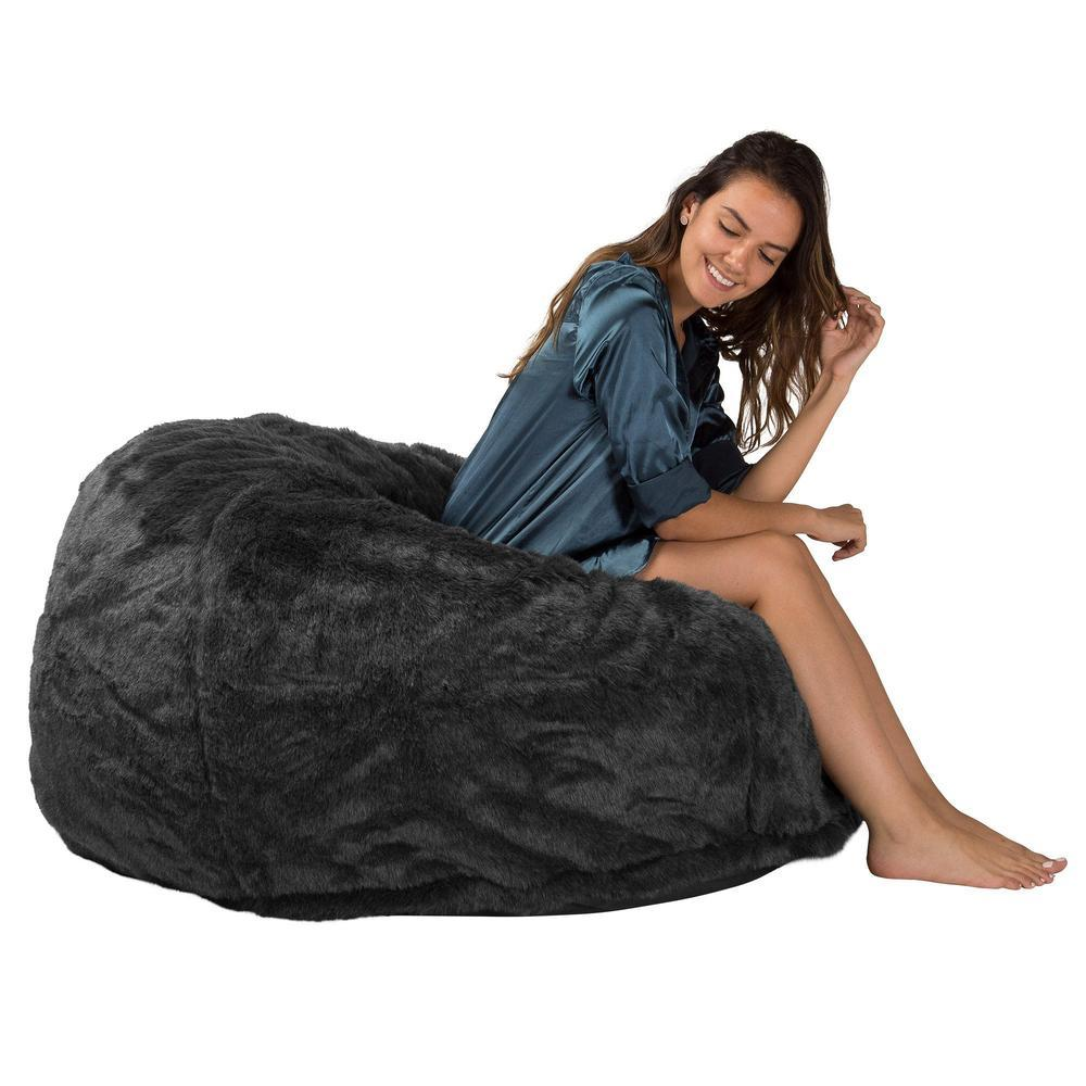lounge-sack-510-xl-x-large-memory-foam-bean-bag-fluffy-faux-fur-badger-black_5