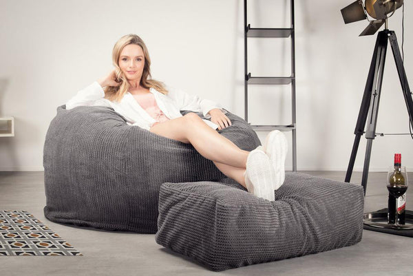 Lounge Sack 510 XL - X Large Memory Foam Bean Bag - Pom Pom Charcoal Gray