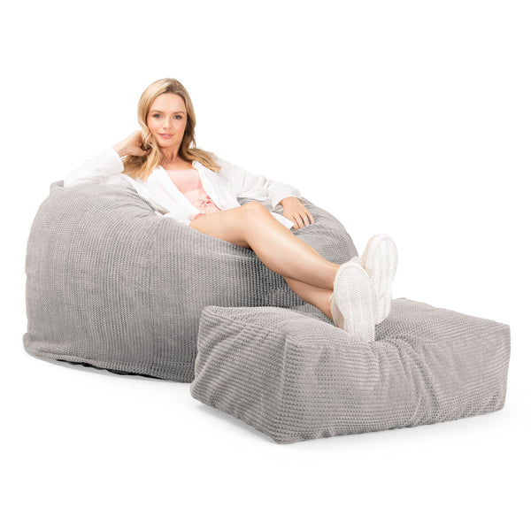 Lounge Sack 510 XL - X Large Memory Foam Bean Bag - Pom Pom Ivory