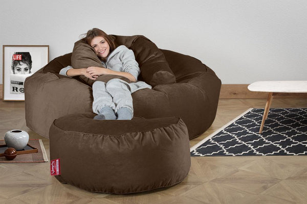 Mega Mammoth Bean Bag Sofa - Velvet Espresso