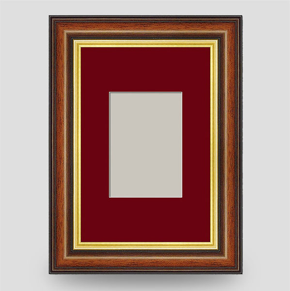 6x4 Brown & Gold Picture Frame Including a 3.5x2.5 Mount